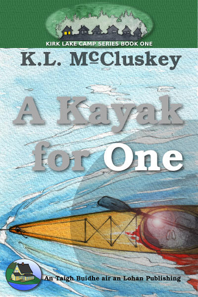 A Kayak for One ebook cover. Skull image inside top view of kayak being pulled.