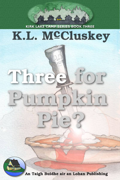 Three for Pumpkin Pie? ebook cover. A pumpkin pie with a bloody knife stuck in it.