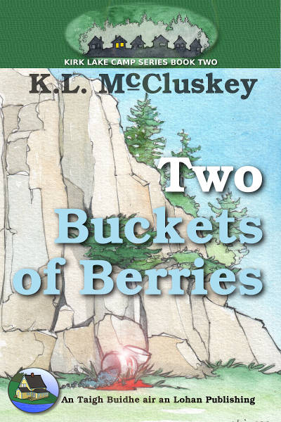 Two Buckets of Berries ebook cover. Two overturned buckets at the base of a cliff with blood on them.